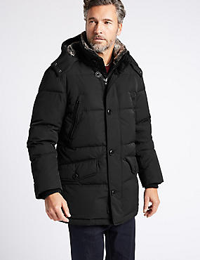 Down & Feather  Parka with Stormwear™, BLACK, catlanding