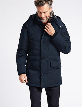 Down & Feather Parka with Stormwear™, NAVY, catlanding