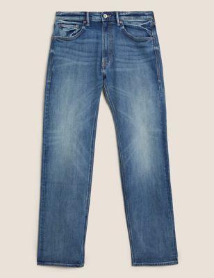 Straight Vintage Wash Stretch Jeans
