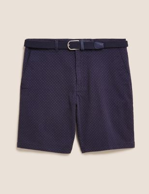 Stretch Belted Printed Chino Shorts