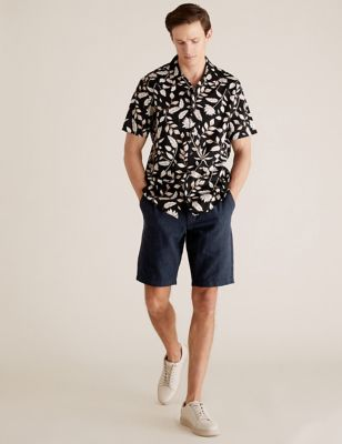 Checked Belted Linen Shorts
