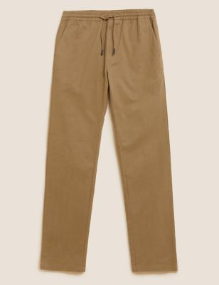 Straight Fit Organic Cotton Elasticated Trousers