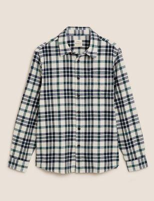 Pure Cotton Check Overshirt