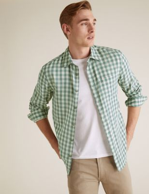 Pure Cotton Double Faced Check Overshirt