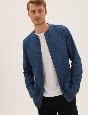 Denim Grandad Collar Shirt