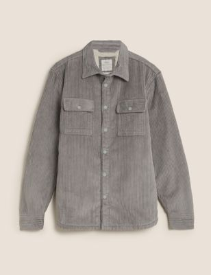 Cotton Borg Lined Corduroy Shacket