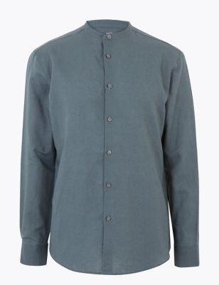 Easy Iron Linen Grandad Collar Shirt