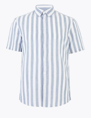 Easy Iron Linen Striped Shirt
