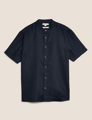 Pure Linen Grandad Collar Shirt