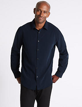Luxury Soft Touch Geo Print Shirt, NAVY, catlanding
