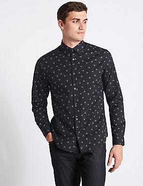Pure Cotton Slim Fit Printed Shirt, BLACK MIX, catlanding