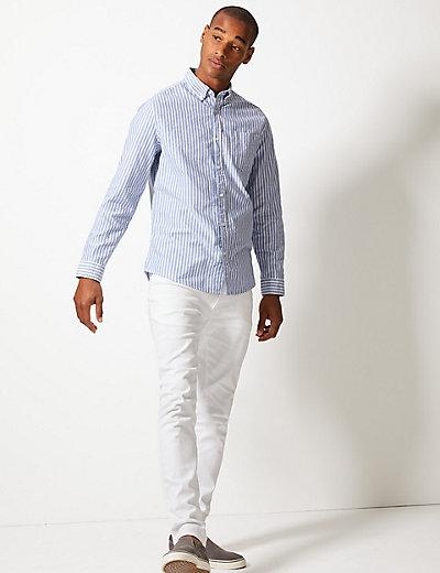 Pure Cotton Striped Oxford Shirt