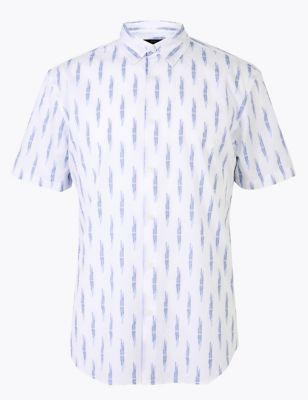 Pure Cotton Ikat Print Shirt