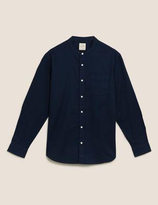 Pure Cotton Grandad Collar Oxford Shirt