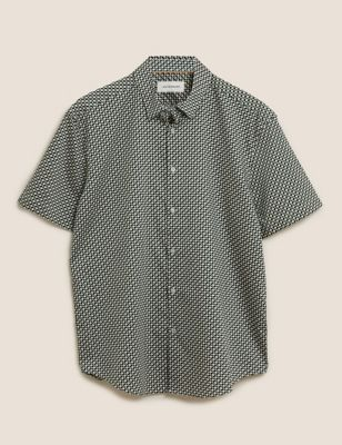 Cotton Geometric Print Shirt