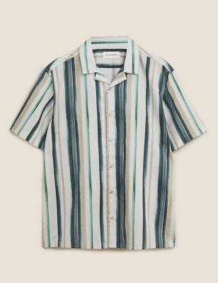 Cotton Striped Revere Shirt
