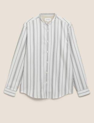 Pure Cotton Striped Grandad Collar Shirt