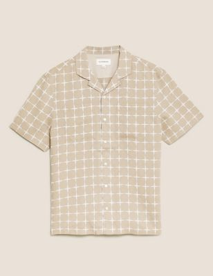Linen Geometric Print Revere Shirt