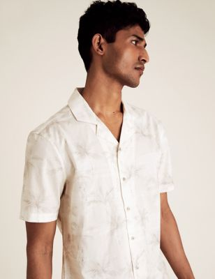 Pure Cotton Palm Print Revere Shirt