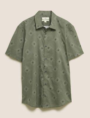Pure Cotton Diamond Print Shirt