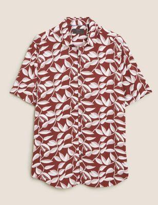Leaf Print Revere Shirt