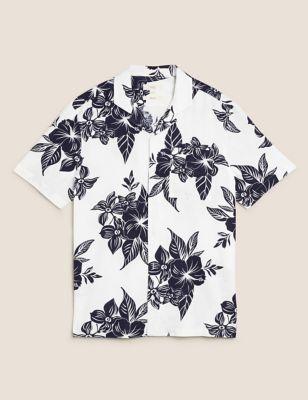 Linen Tropical Print Shirt