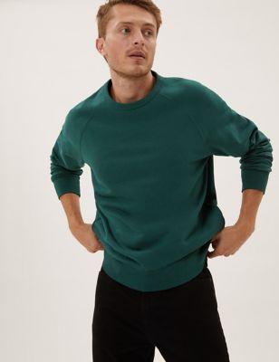 Pure Cotton Raglan Crew Neck Sweatshirt