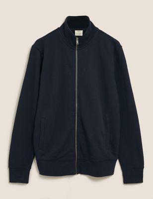 Pure Cotton Zip Up Funnel Neck Sweatshirt