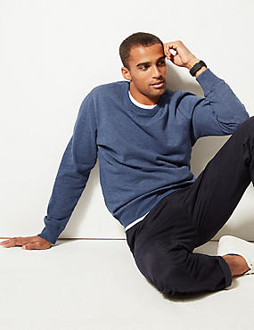 Cotton Rich Sweatshirt, MED BLUE DENIM, catlanding