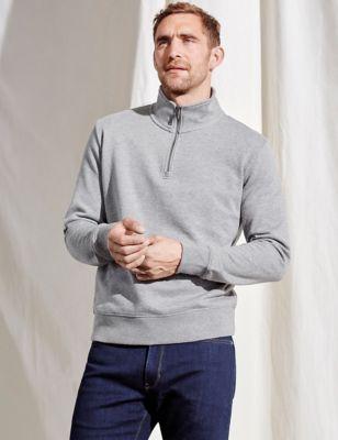 Pure Cotton Half Zip Funnel Neck Sweatshirt