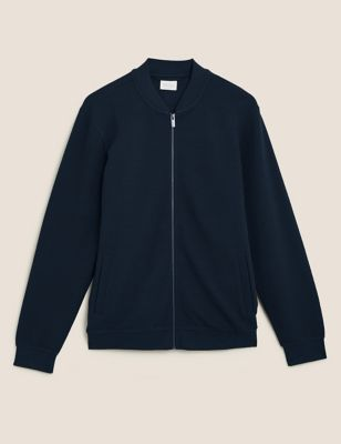Pure Cotton Textured Jersey Bomber Jacket