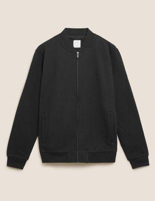 Pure Cotton Zip Up Bomber Jacket