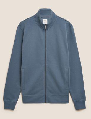 Pure Cotton Funnel Neck Zip Up Sweatshirt
