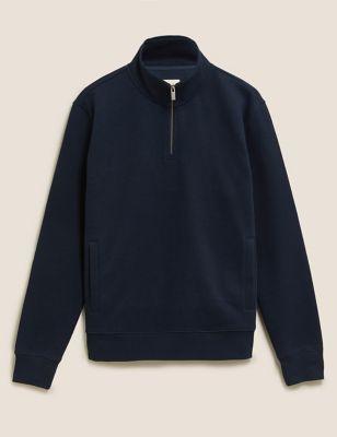 Pure Cotton Half Zip Sweatshirt