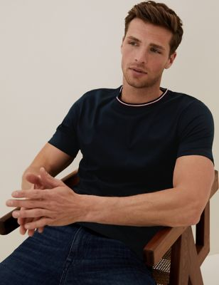 Pure Cotton Tipped Collar T-Shirt