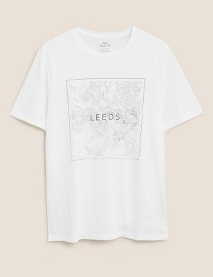 Pure Cotton Leeds Map Graphic T-Shirt