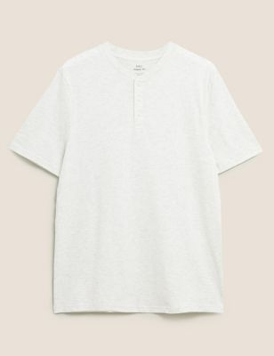 Pure Cotton Henley T-Shirt