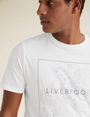 Pure Cotton Liverpool Map Graphic T-Shirt