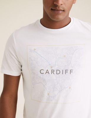 Pure Cotton Cardiff Map Graphic T-Shirt