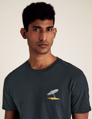 Slim Fit Pure Cotton Embroidered T-Shirt