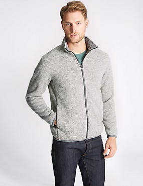 Textured Zipped Through Fleece Jacket, NATURAL MIX, catlanding