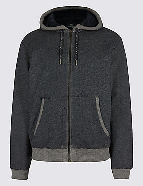 Zipped Through Fleece Jacket, DENIM MIX, catlanding