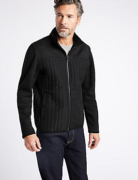 Textured Zipped Through Fleece Jacket, BLACK MIX, catlanding