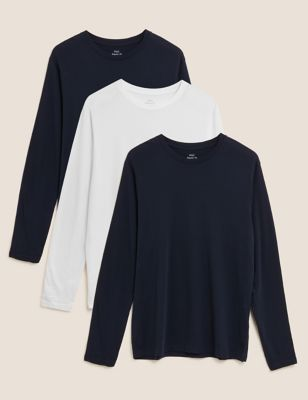 3 Pack Pure Cotton Long Sleeve T-Shirts