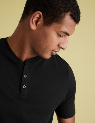 2 Pack Pure Cotton Henley T-Shirts