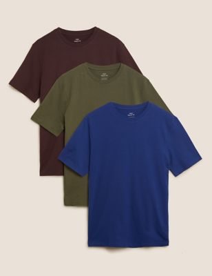 3 Pack Pure Cotton Crew Neck T-Shirts