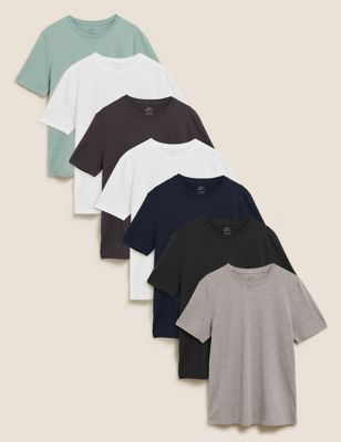 7 Pack Pure Cotton Crew Neck T-Shirts