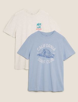 2 Pack Cotton Surf Graphic T-Shirts