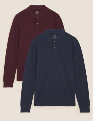 2 Pack Pure Cotton Long Sleeve Polo Shirts