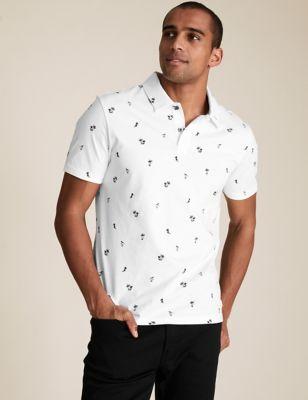 Pure Cotton Hawaiian Print Polo Shirt